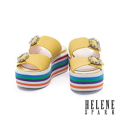 拖鞋 HELENE SPARK 鑽飾雙字帶多彩層次牛皮厚底拖鞋-黃