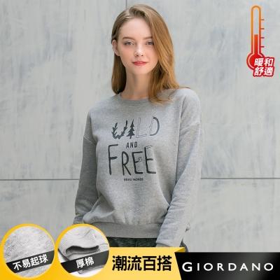 GIORDANO 女裝落肩袖圓領字母印花寬鬆大學T -11 雪花中灰色