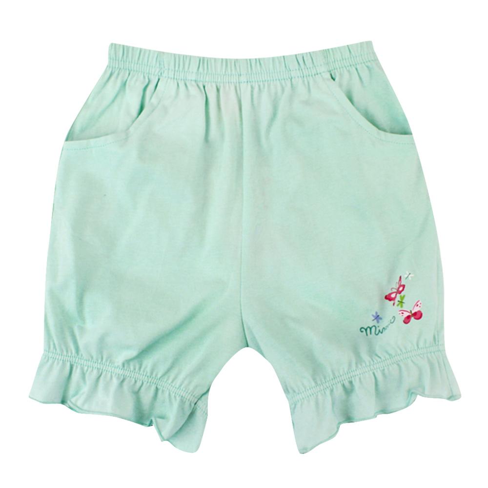 愛的世界 MYBABY 純棉鬆緊帶荷葉束口五分褲-綠/6M~2歲
