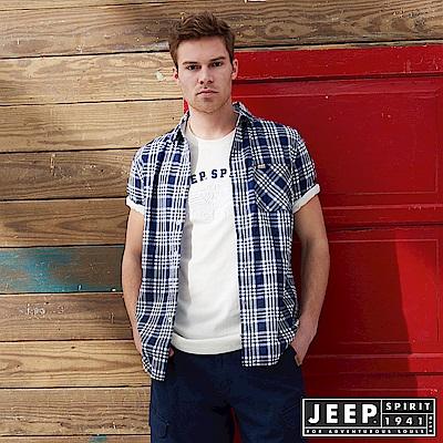 JEEP 純棉格紋短袖襯衫-藍格