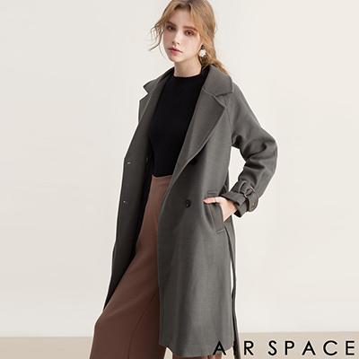 AIR SPACE 翻領排釦腰帶羊毛大衣外套(綠)