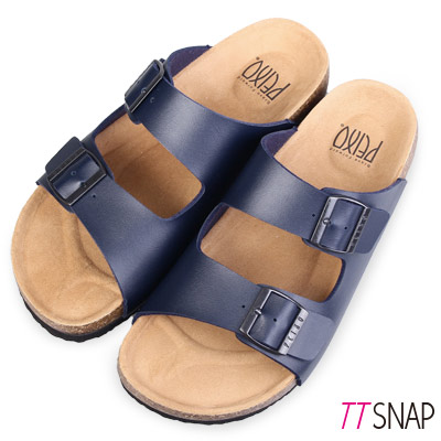 TTSNAP涼拖鞋-MIT真皮整體包覆足弓休閒涼拖鞋 藍