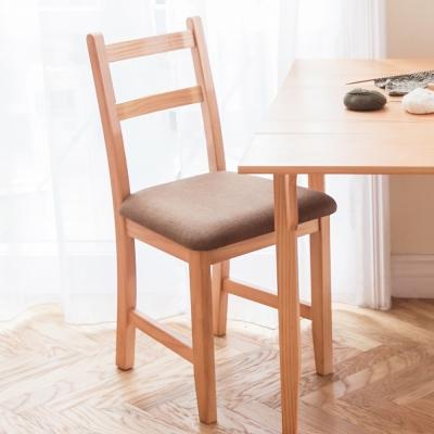 CiS自然行實木家具- 北歐實木書椅(溫暖柚木色)深咖啡椅墊