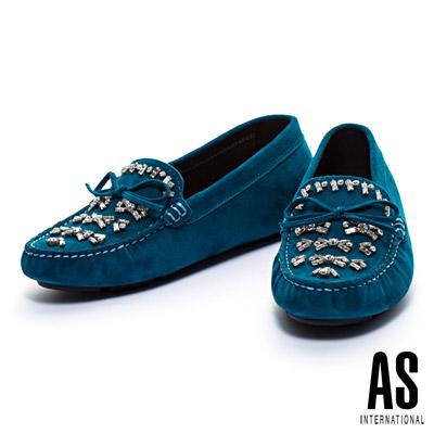 休閒鞋-AS-縫鑽造型經典蝴蝶結全真皮休閒鞋-藍