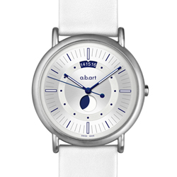 a.b.art KLD Moon Phase月相盈虧夜光顯示紀念腕錶-銀/38mm