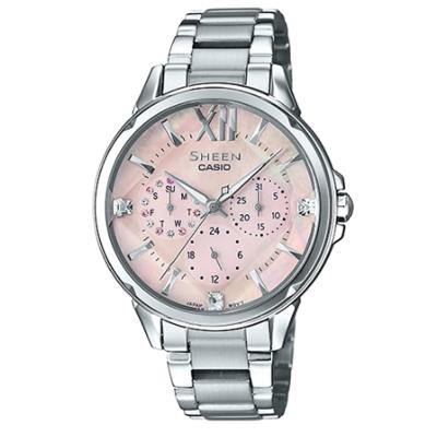 SHEEN 切割玻璃面設計羅馬時刻腕錶(SHE-3056D-4A)淡粉紅面37.1mm