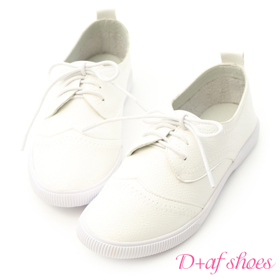 D+AF 日常推薦.拷克車線牛津小白鞋*白
