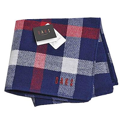 DAKS 經典格紋方格圖騰品牌字母LOGO刺繡小方巾(深藍)