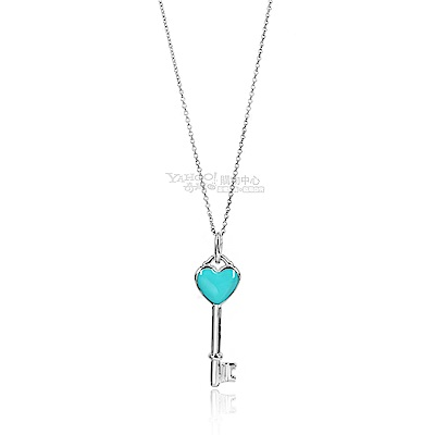 TIFFANY-Co-粉藍琺瑯愛心鑰匙925純銀項