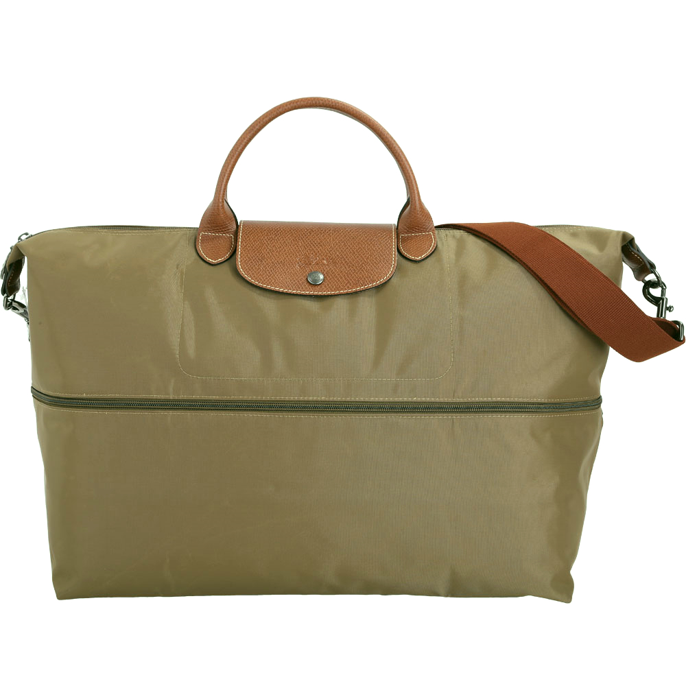 LONGCHAMP Le pliage 拉鍊伸縮尼龍兩用旅行袋(橄欖綠)