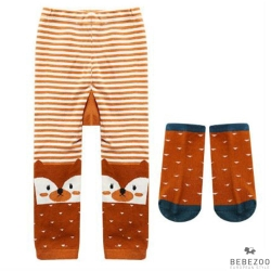 BEBEZOO 韓國 條紋棕色三角狐狸款彈性內搭褲襪子兩件組