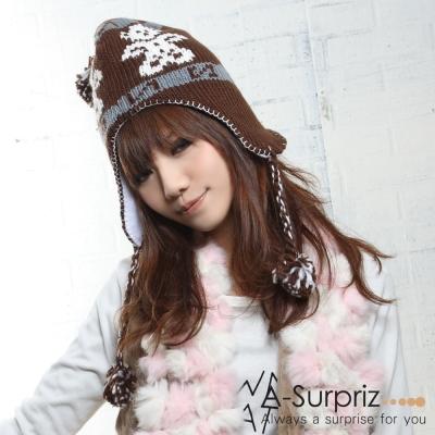 A-Surpriz 可愛熊熊毛球辮子毛線帽(咖)
