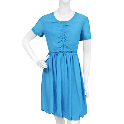 BURBERRY 條紋短袖洋裝(US 8號)(天藍色)