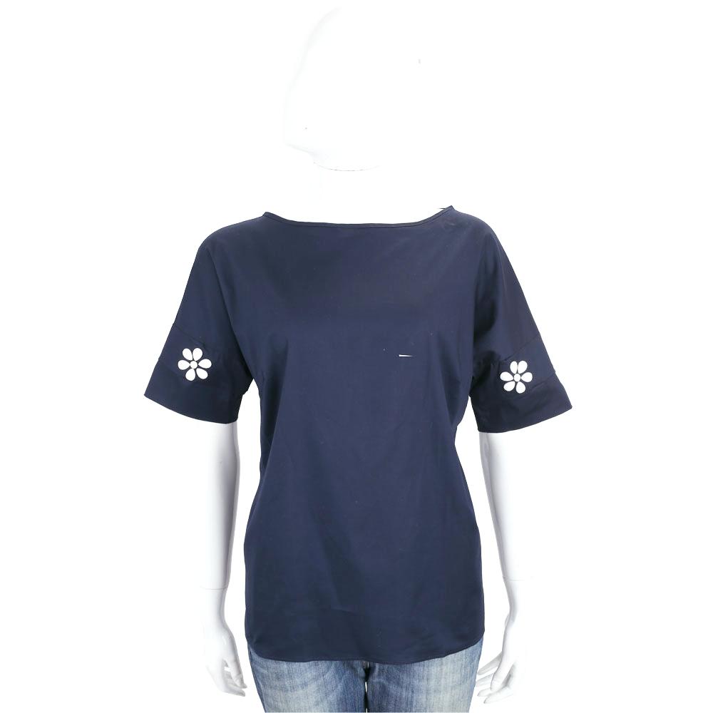 ROCCO RAGNI 深藍色花飾設計短袖棉質上衣