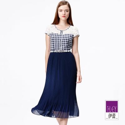 ILEY伊蕾-縷空蕾絲格紋壓摺長洋裝
