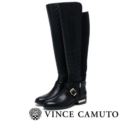 Vince Camuto  率性軍風菱格粗跟長靴-黑色