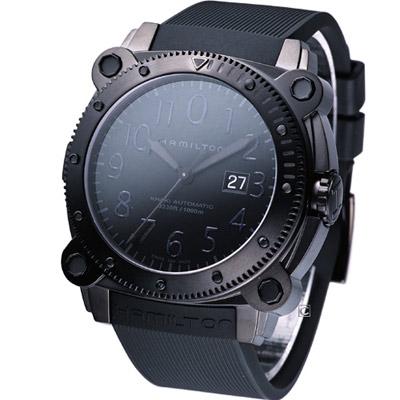 HAMILTON Khaki 海底霸王潛水機械錶-IP黑/46mm