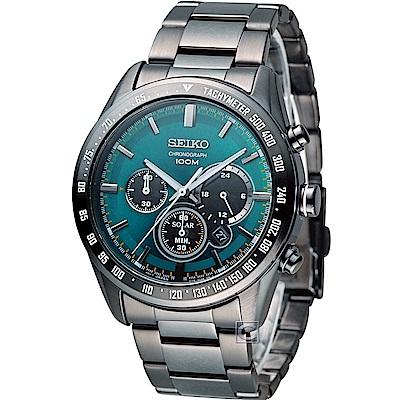 SEIKO Criteria 太陽能計時腕錶(SSC475P1)黑x綠/42mm