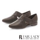 Fair Lady復古交叉繞帶皮革方頭平底鞋 橄欖綠