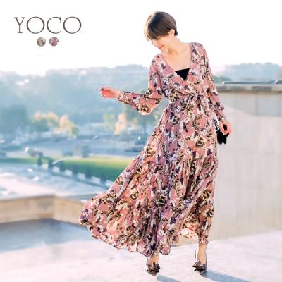 東京著衣-yoco安琪聯名巴黎女神滿版印花全長洋裝-XS.S.M.L(共二色)