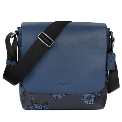 COACH藍色真皮拼接夏威夷百合圖繪翻蓋斜背男包