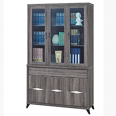H&D 古典工業風4尺書櫥 (寬121X深41X高206cm)
