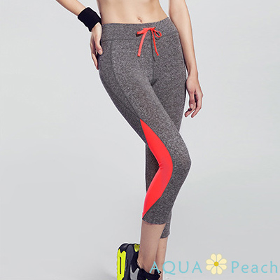 運動褲 拼色設計抽繩七分運動褲 (灰橘色)-AQUA Peach