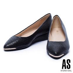 低跟鞋 AS 金屬風菱格壓紋牛皮楔型低跟鞋-黑
