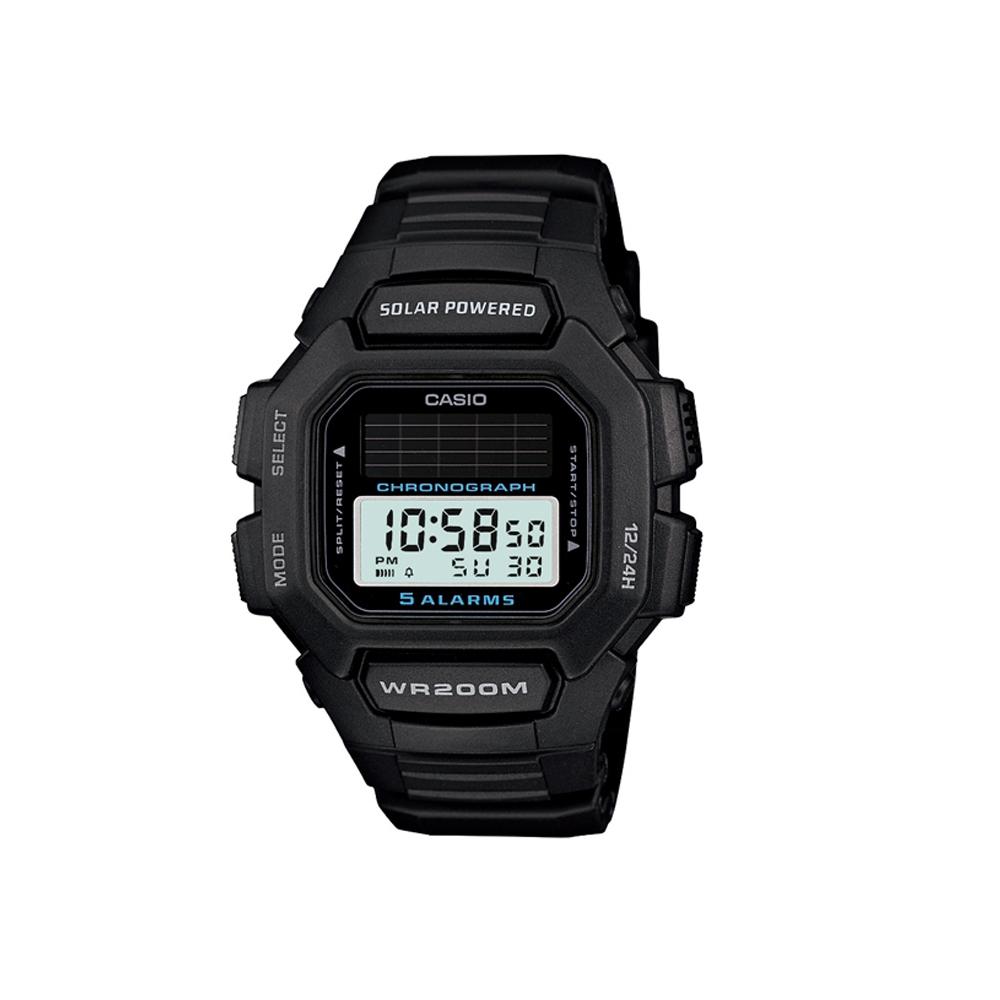 CASIO 太陽能驅動休閒數位錶(HDD-S100-1A)-黑/45.8mm