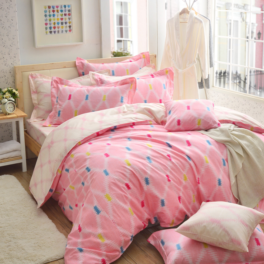 GOLDEN-TIME- 幸福的交叉點-200織紗精梳棉-兩用被床包組(粉-加大)