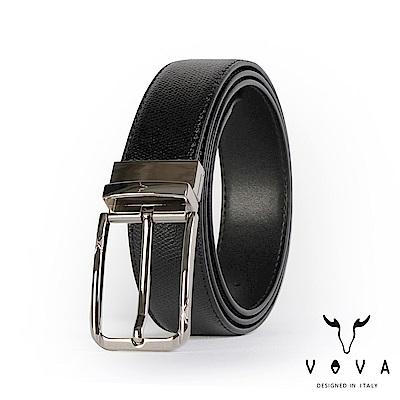 VOVA 紳士方頭穿針式可旋轉蛇紋皮帶 - 銀色