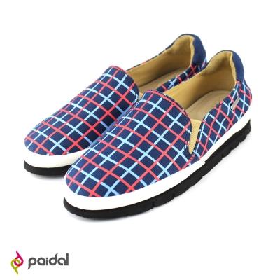 Paidal魔力格紋休閒鞋樂福鞋-紅藍格