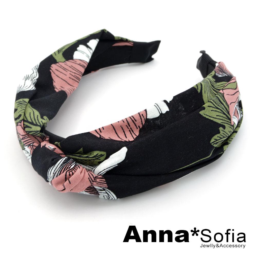【2件7折】AnnaSofia 春紛花卉中央結 韓式寬髮箍(酷黑系)