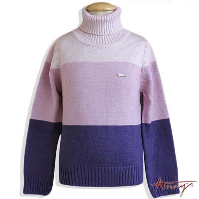 Anny針織漸層紫緞質蝴蝶結長袖上衣*4624紫