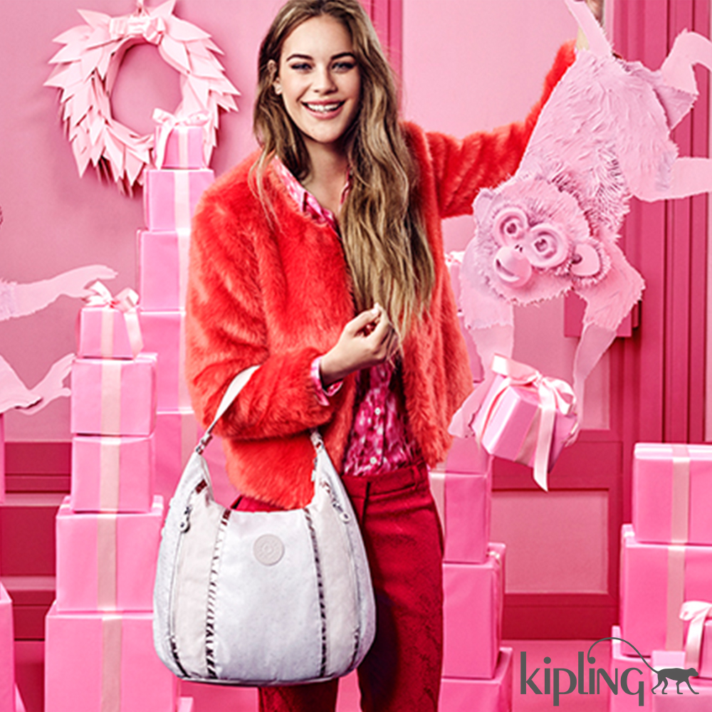 Kipling 雪地白素面手提包