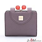 J&M 真皮愛蜜莉框釦短夾 藕芋紫