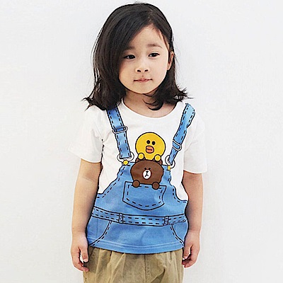 Baby unicorn 藍白莎莉熊大假兩件短袖上衣