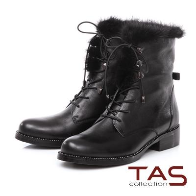 TAS 貂毛滾邊鑽底麂皮綁帶短靴-時髦黑