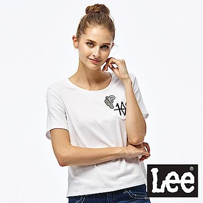 Lee 101+小口袋短袖圓領TEE-女款-白色