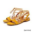 達芙妮DAPHNE 涼鞋-一字綁帶布面低跟涼鞋-黃