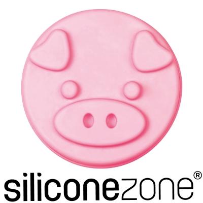Siliconezone施理康耐熱粉紅小豬造型小蛋糕模-粉色