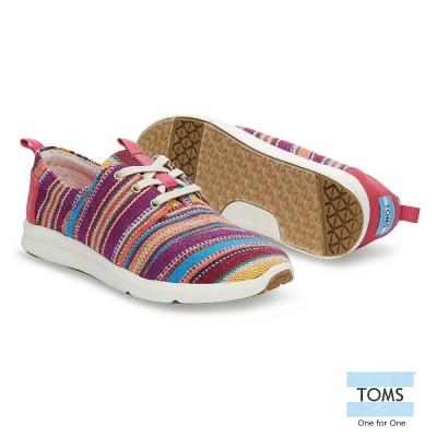 TOMS 彩色編織風休閒鞋-女款(桃紅)