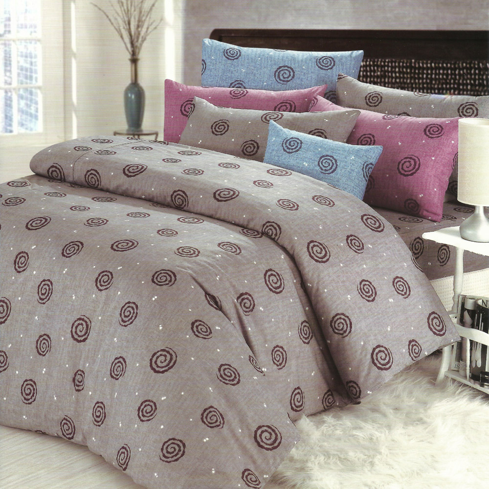 艾莉絲-貝倫 深情漩渦 高級混紡棉 單人鋪棉涼被床包三件組
