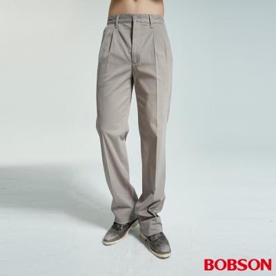 BOBSON 男款雙摺卡其休閒褲