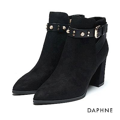 達芙妮DAPHNE 短靴-絨布皮帶扣鑽飾粗高跟踝靴-黑