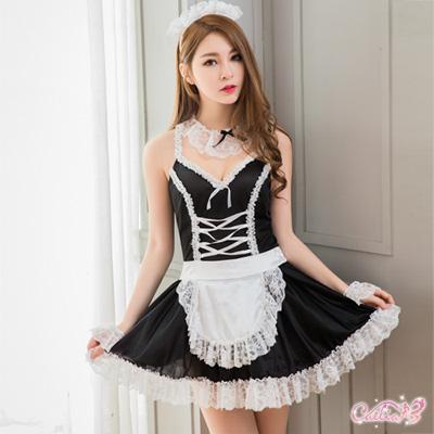 女僕裝 透視露背洋裝式女僕角色扮演服五件組(黑F) Caelia