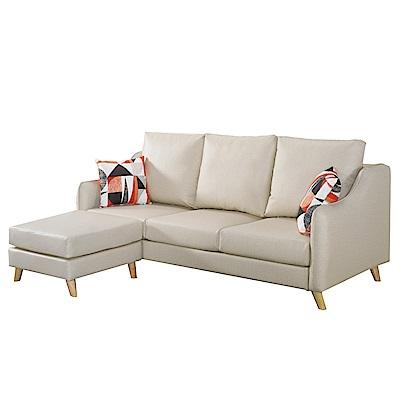 品家居 梵蒂耐磨皮革L型沙發(四人+凳)-198x145x77-免組