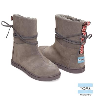 TOMS-皮繩麂皮雪靴-孩童款-深灰