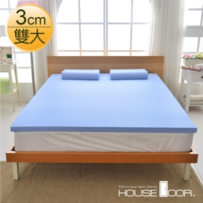 House Door 大和防蹣抗菌表布 3cm全平面竹炭記憶床墊-雙人加大6尺