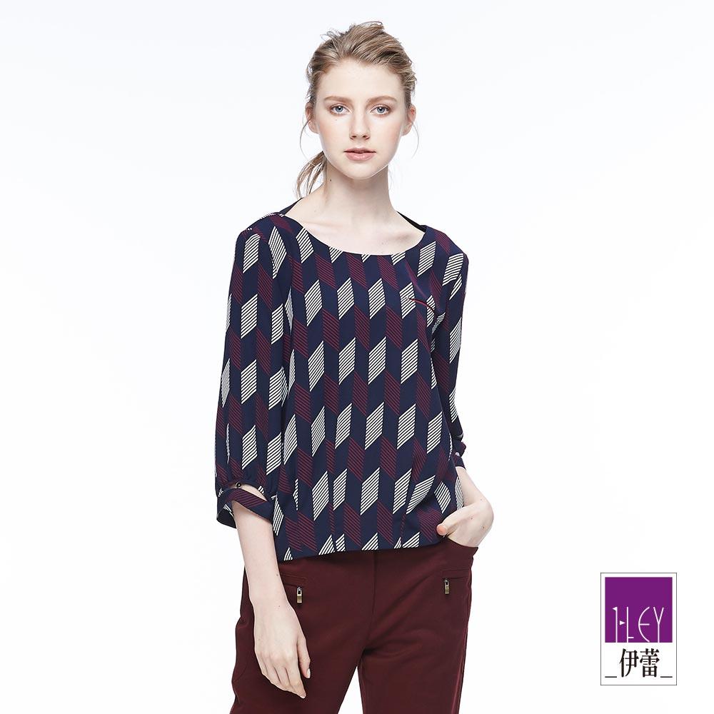 ILEY伊蕾 簡約幾何條紋印花上衣魅力價商品(藍)